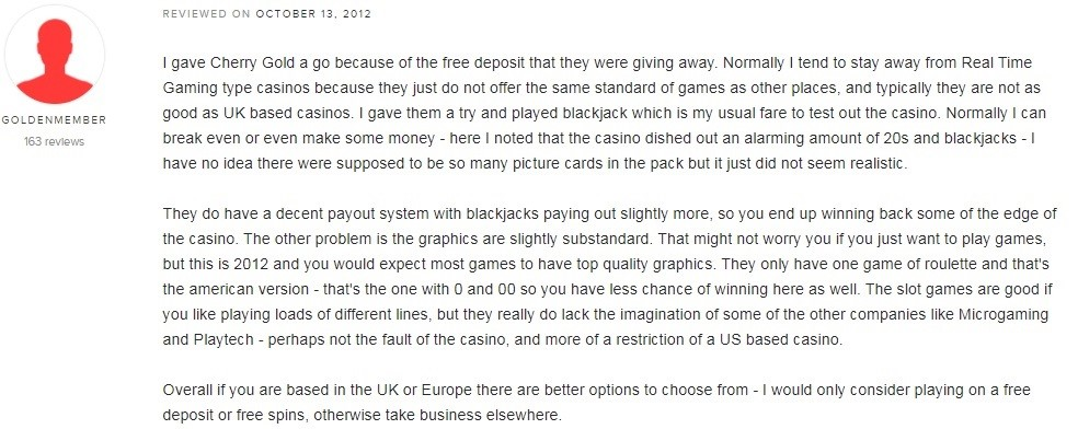 Cherry Gold Casino Player Review 2