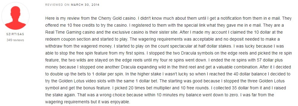 Cherry Gold Casino Player Review 3