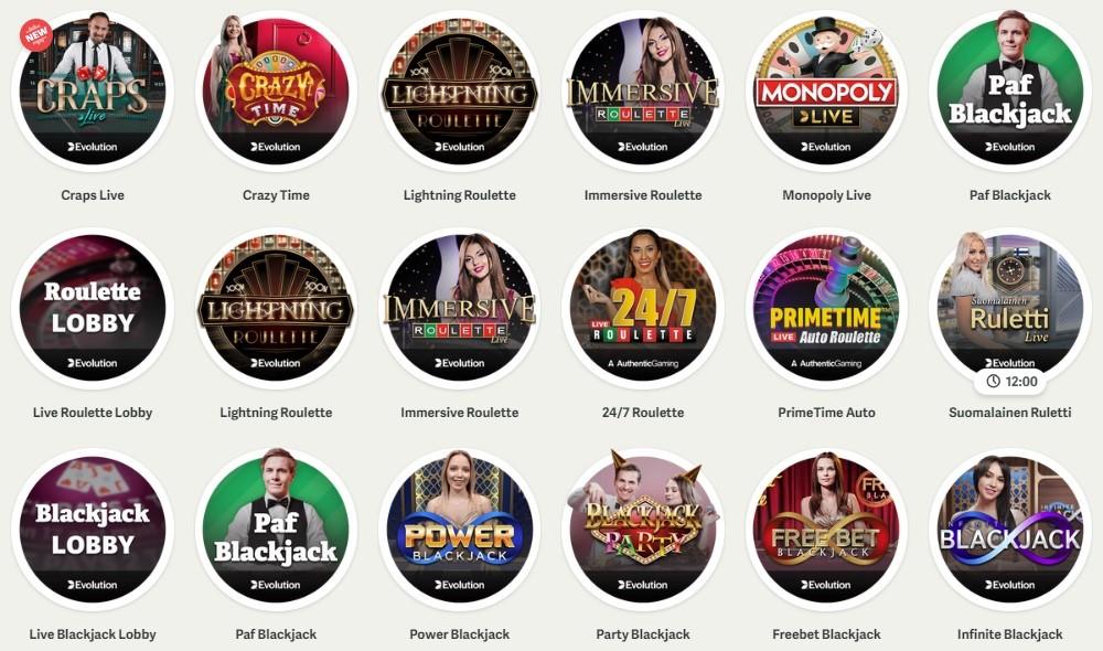 Paf Casino Live Casino Games