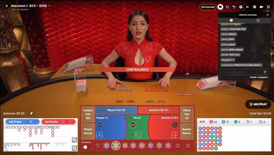 Playamo Casino Live Baccarat
