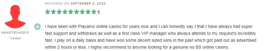 Playamo Casino Player Review 4