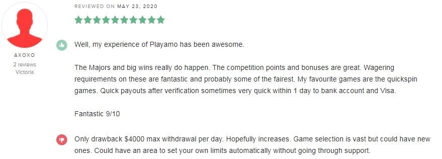 Playamo Casino Player Review 5