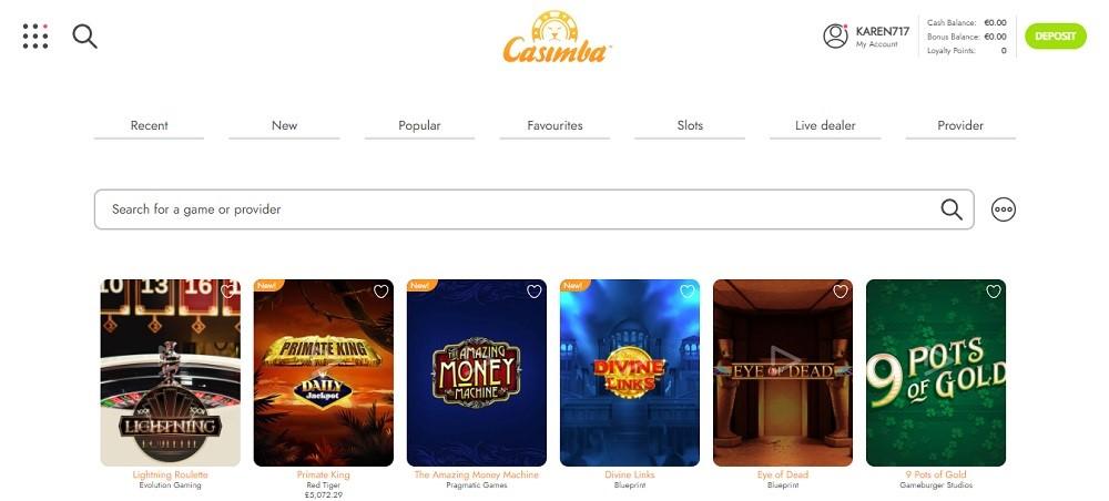 Casimba Casino Members Area