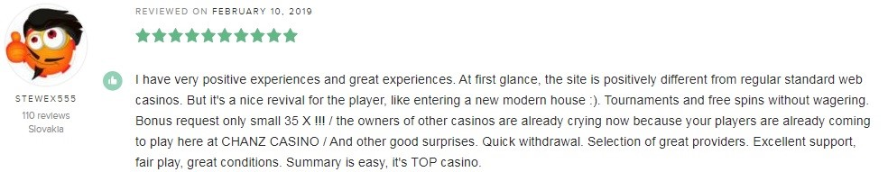 Chanz Casino Player Review 4