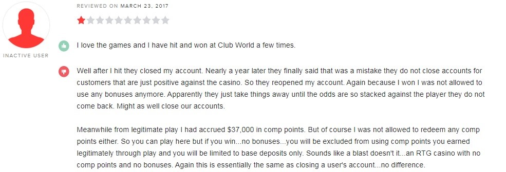 Club World Casino Player Review