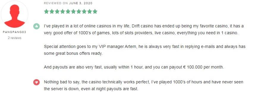 Drift Casino Player Review 3