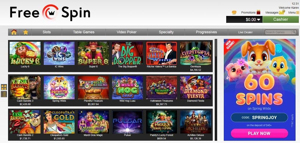 Free Spin Casino Members Area