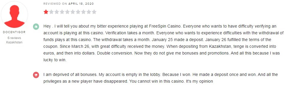 Free Spin Casino Player Review