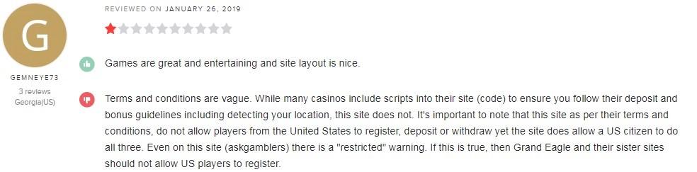 Grand Eagle Casino Player Review