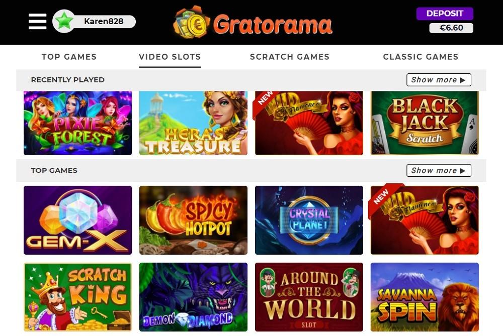 Gratorama Casino Members Area