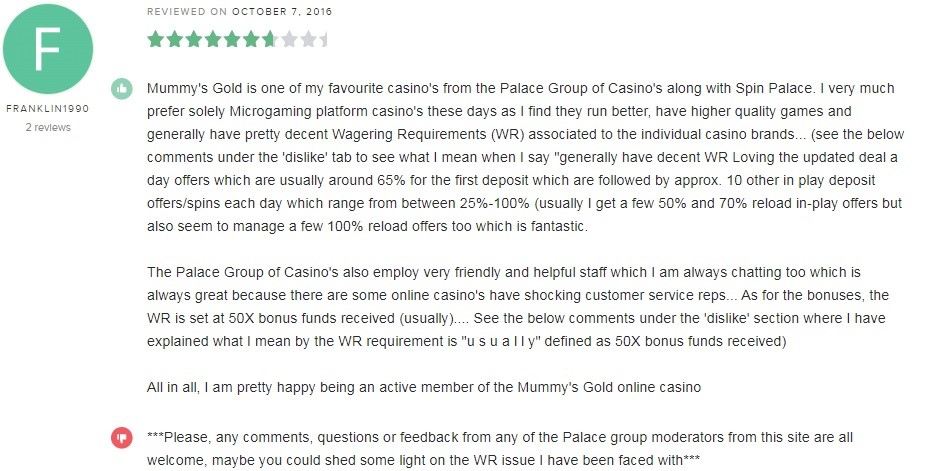 Mummys Gold Casino Player Review 2