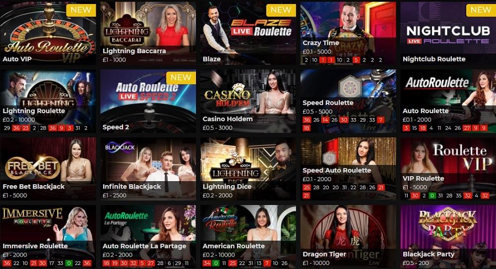 Regent Play Casino Live Casino Games