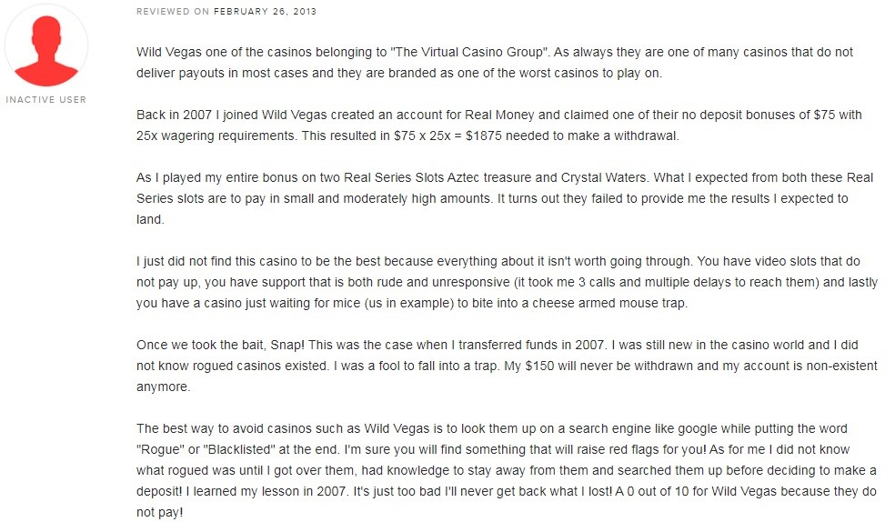 Wild Vegas Casino Player Review 2